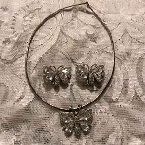 Butterfly silver tone necklace & earring set